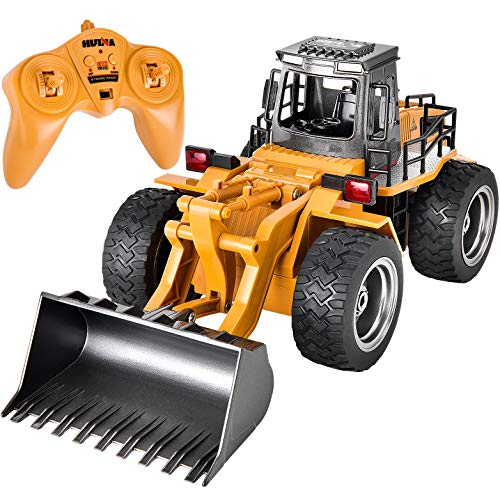 ROOYA BABY Excavator Toys for Boys Remote Control Construction Vehicle 2.4GHz Radio Controlled Alloy Shovel Tractor 4WD RC Car with Lights 6 Channel Simulation rc Truck for 7 Ages Boys Gift
