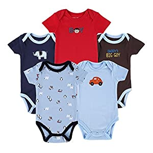 Mother Nest Baby Onesies Bodysuits 100% Cotton Boys/Girls 0-12 Months (5 Pack)