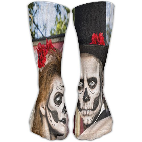 Novelty Halloween Makeup Bride And Groom Stylish Premium Quality Long Socks Sports Crew Socks -