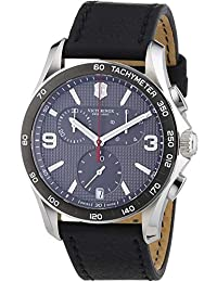 Victorinox Chrono Classic Grey Dial Leather Strap Mens Watch 241657
