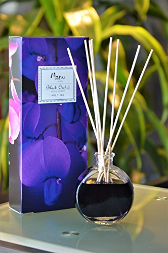 Manu Home Black Orchid Reed Diffuser Gift Set - Made with Essential Oils ~ Includes natural set of sticks ~ Made in the USA~