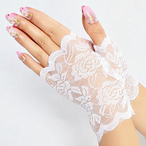 2 Pairs Women Sunproof Gloves Lace Gloves UV Protection Fingerless Gloves For Wrist Length Prom Party Driving Wedding Gloves (White)