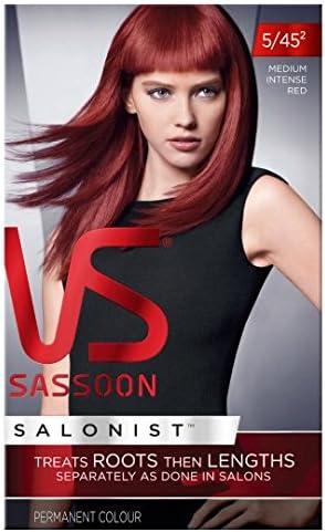 Vidal Sassoon mediano intensa rojo 5/45 tinte de pelo: Amazon ...