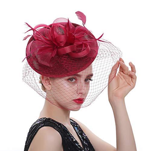 LATIMOON Sinamay Fascinators Kentucky Derby Headband Bridal Wedding Hats Tea Party Headwear for Women and Girls (A-Wine -