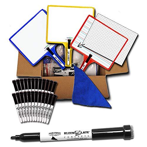 Kleenslate Dry Erase Boards/Markers Classroom Pack, 12 Boards/Pack (KLS5422)