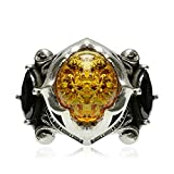 Adisaer Biker Rings Silver Ring for Men Black Cubic Zirconia Amber Ring Size 10 Vintage Punk Jewelry