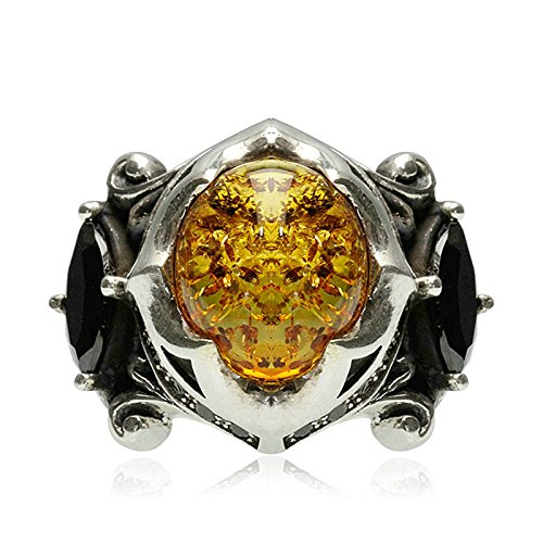 Adisaer Biker Rings Silver Ring for Men Black Cubic Zirconia Amber Ring Size 10 Vintage Punk Jewelry by Adisaer