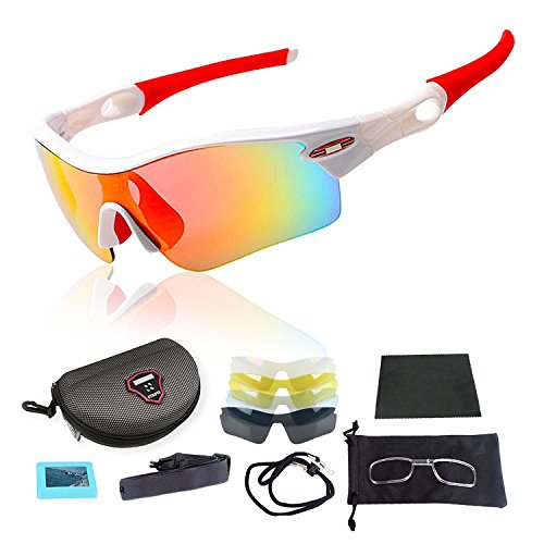 INBIKE New Cycling Bicycle Bike Sports Sun Glasses sunglasses with 5 Lens, 4 Colors To Choose - White - Fake Oakley Sunglasses