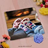 VROSELV Custom Cotton Microfiber Ultra Soft Hand Towel-happy young romantic couple sitting on sofa in front of fireplace at winter season in home Custom pattern of household products(20''x20'')
