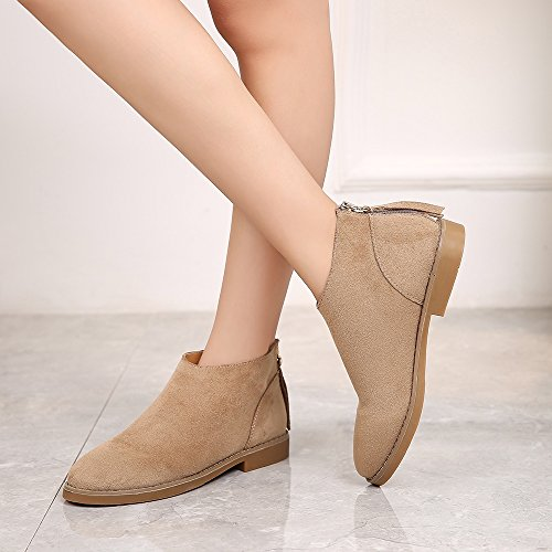 Meeshine Womens Leather Western Zipper Low Heel Round Toe Suede Ankle Booties Natural T6BeNQc