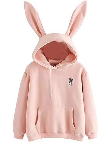 Hoodie Damen Langarm Kaninchen Hoodie Sweatshirt Pullover Frauen Kaninchen  Ohren Kapuzenpullover Kingwo dd6237658d