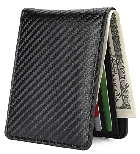 Mens Slim Front Pocket Wallet ID Window Card Case with RFID Blocking - Carbon Fiber Texture by HISSIMO