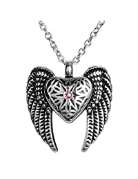 AMIST Angel Wings Crystal in Heart Keepsake Memorial Urn Necklace Cremation Jewelry