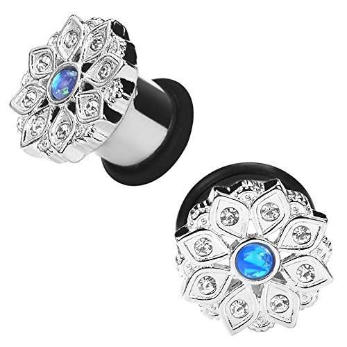 2g Body Jewelry (Stainless Steel Silver Flower Opal Center Ear Stretching Tunnels 2g)