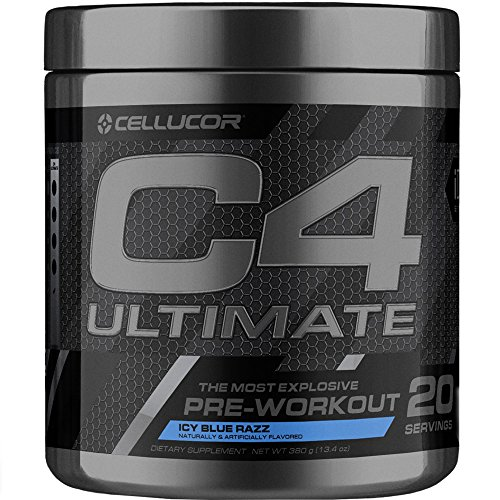 Cellucor C4 Ultimate Pre Workout Powder with Beta Alanine, Creatine Nitrate, Nitric Oxide, Citrulline Malate, Energy Drink Mix, ICY Blue Razz, 20 Servings