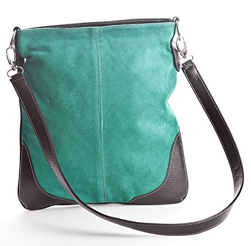 Body Messenger Big Suede Handbag Large Womens Cross Real Shop Turquoise Bag wrPA8PUqnI