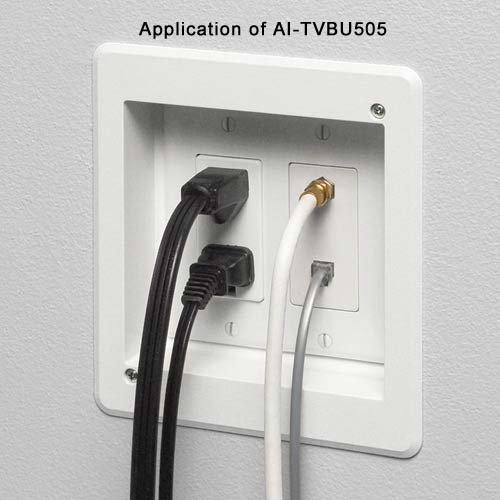Arlington TVBU505-1 TV Box Recessed Outlet Wall Plate Kit, 2-Gang, White, (1 Outlet Wall Mount)