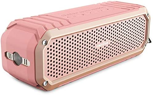 COMISO Bluetooth Speakers with Lights, Loud Dual Driver Wireless Bluetooth Speaker with HD Audio and Enhanced Bass, Wireless Stereo, Built in Mic, Aux Input, Long-Lasting Battery Life Pink Pink