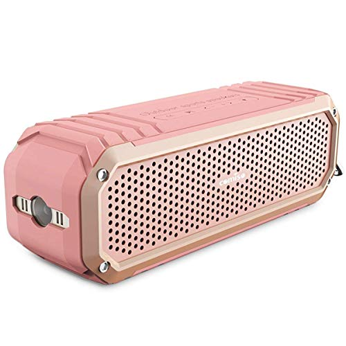 COMISO Bluetooth Speakers with Lights, Loud Dual Driver Wireless Bluetooth Speaker with HD Audio and Enhanced Bass, Wireless Stereo, Built in Mic, Aux Input, Long-Lasting Battery Life (Pink) (Pink) (I Twist Bluetooth Speaker)