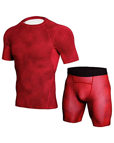 - Mens Workout Clothes with Compression Pants Summer Breathable Gym Suit Close Fitting Sets Red M