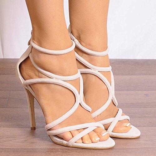 Nudo Di Donna Con Spalline Tagliato Scarpe Open Toe A Spillo Tacco Alto Sandali UK8/EURO41/AUS9/USA10