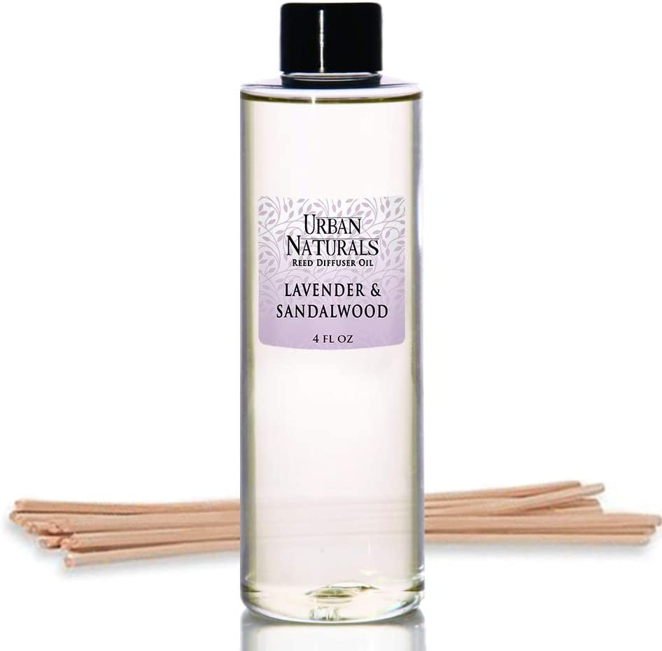 Urban Naturals Lavender & Sandalwood Scented Oil Reed Diffuser Refill | Includes a Free Set of Reed Sticks! 4 oz.