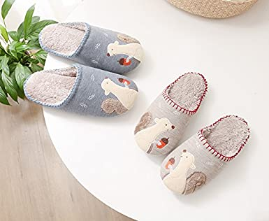 #35 Squirrel Pattern Design Warm Winter Indoor Outdoor Slipper for Women-Beige