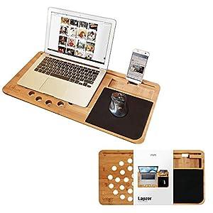 mikamax – Lapzer – Bureau pour Ordinateur Portable – Grand – avec Trous De Ventilation … (Couleur du Bois)
