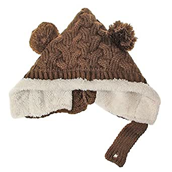 Urparcel Baby Infant Girls Boys Winter Knit Warm Crochet Rib Pom Pom Hat Cap Hood