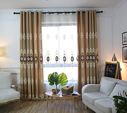 VOGOL Customized Simple Chenille Jacquard Blackout Window Elegance Curtains/Drapes/Panels/Treatments for Bedroom Living Room,Top Grommets (2 Panels) Chenille Living Room Set