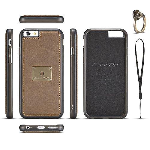 Grandcaser Funda para iPhone 6/6s 4.7,Rugged Armor Premium Cuero Protectora Book Style Cover Case Flip Carcasa con Función de Desmontable Anillo Ring Stand - Gris Marrón