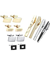 12pcs Stainless Steel Men's Classic Silver Cufflinks and Tie Bar Set for French Cuff Dress Shirts with Gift Box