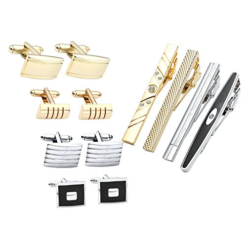 JOVIVI 12pcs Stainless Steel Men's Classic Silver Cufflinks and Tie Bar Set for French Cuff Dress Shirts with Gift ()
