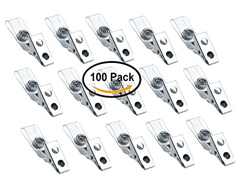 Metal Badge Clips With Clear Vinyl Strap, ID Badge Clip, 100 Pack