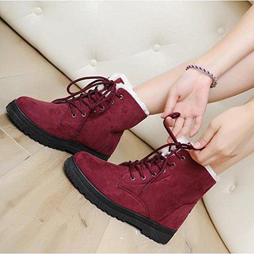 Amlaiworld invierno Botas interiores Rojo de Zapatos PAUxw4Y
