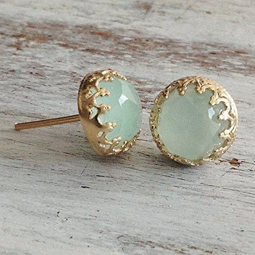 Gold Jade Earrings Light Green Stud Set of 2 14k Gold Filled Crown Jewelry (Handmade Gemstone Jewelry)