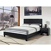 Stratus Full Upholstered Bed, Black Faux Leather