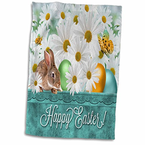3D Rose White Daisies with A Bunny and Colored Easter Eggs i