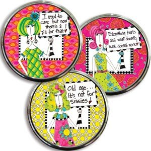 Dolly Mama Pill Box - Everything Hurts and What Doesn't Hurt Doesn't Work - Humorous Pillbox in Gift Box 2.25""