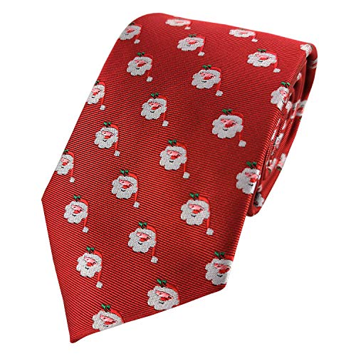 Mens Exquisite Woven Tie Christmas Series Necktie -Various Colors (Santa Claus Red)