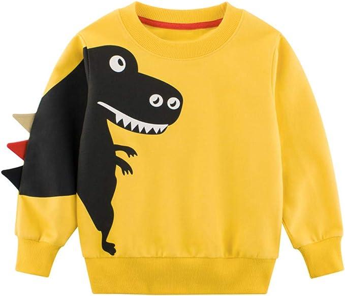 Casual Toddler Baby Boys Long Sleeve Blouse Cartoon Dinosaur Tops T-Shirt UK