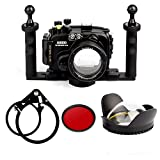 EACHSHOT 40M Waterproof Underwater Camera Housing Case Bag for Sony A6000 Camera Used With 16-50mm Lens + 200mm Fisheye Dome Port with 67mm Round Adapter + Adapter Mount + Two-hands Handle + Red Filte