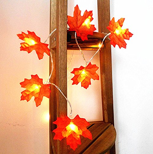 Decorations Lighted Fall Garland,FANSIR Maple Leaf String Lights,Shades of Orange and Yellow Leaves with 8.2 Feet 20 LED Lights,Perfect Christmas Gift (Warm white) -