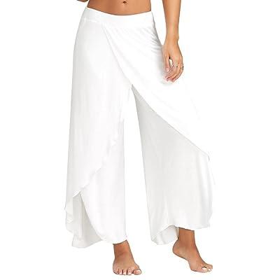 Fanteecy Women High Slit Flowy Wide Leg Wrap Layered Yoga Pants Cropped Casual Palazzo Trousers: Clothing