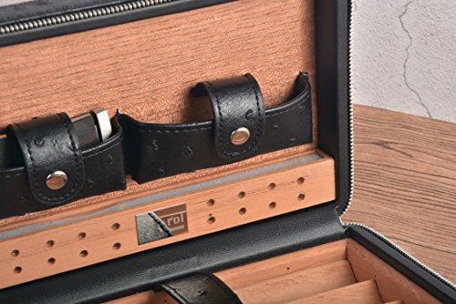 Portable Travel Cigar Case Leather Cigar Case Spanish Cedar Wood Portable Cigar Humidor, Cigar Box with Cigar Cutter and Humidifier for 4 Cigars by CigarHub (Image #4)