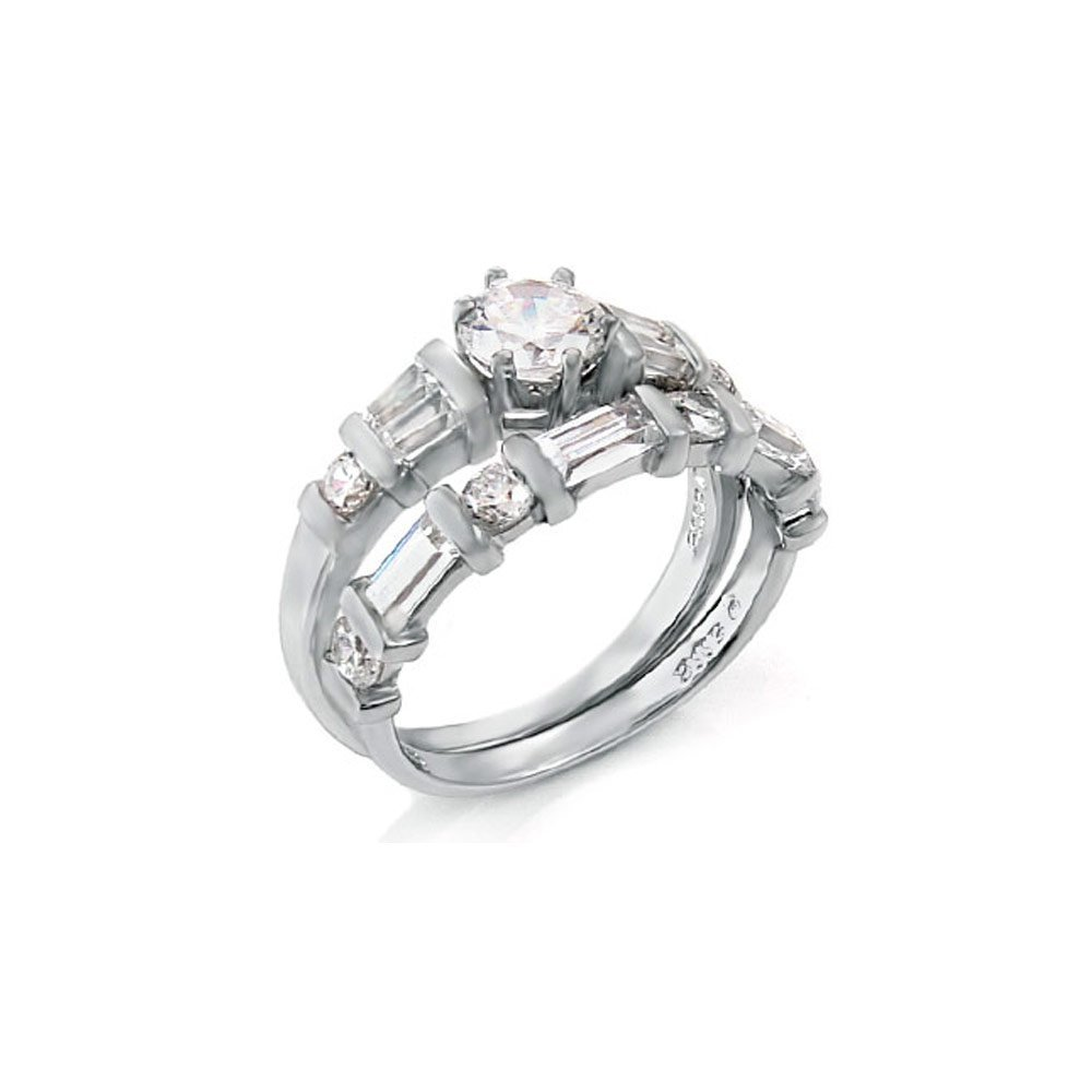 Sterling Silver Round-Baguette-Trapezium Ring Set with a Prong Set Cz in the Center, Ring Width of 9MM