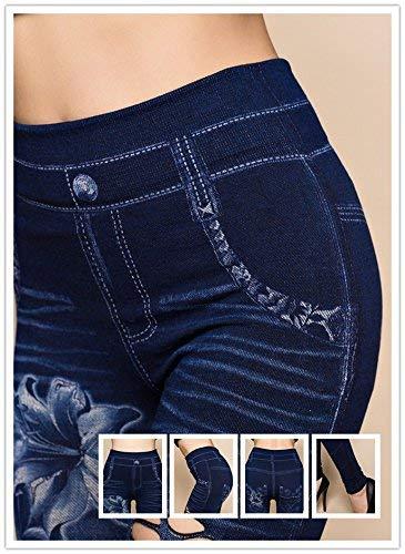 Flor Bolsillos Agujeros Mezclilla Cintura Con Polainas Pattern2 Lápiz Slim Pantalones Las Alta Estirar Impreso Mujeres De Fit Stretch CUUqwxtzO
