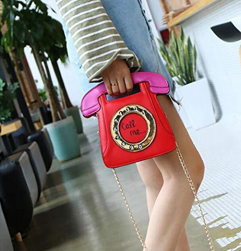 À Bandoulière Red Embrayage Chaîne Rétro Sac Tout Main Fourre Cuir Sac Femme Épaule en Forme Mode Qiulv Téléphone PU Messager De xgwf46fA