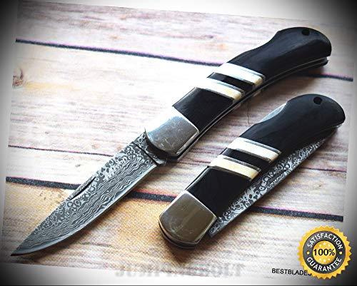 MTECH BLACK PAKKAWOOD HANDLE WITH BONE INLAY LOCK-BACK FOLDING SHARP KNIFE - Premium Quality Hunting Very Sharp EMT EDC Air Force Lockback Knife