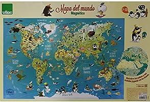 Vilac- Mapa del Mundo magnético, 76x50x1 (2720S): Amazon.es: Juguetes y juegos